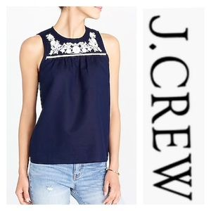 J. Crew Cotton Linen Embroidered Shell Blue White